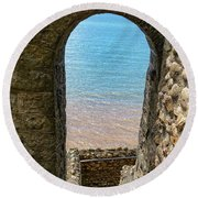Round Beach Towel featuring the photograph Sea View Arch by Scott Carruthers