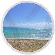 Round Beach Towel featuring the photograph Sea View M2 by Francesca Mackenney