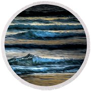 Sea Waves After Sunset Round Beach Towel