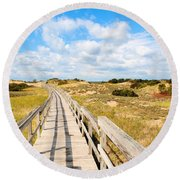 Seabound Boardwalk Round Beach Towel