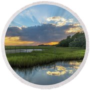 Seabrook Island Sunrays Round Beach Towel