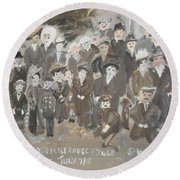 Round Beach Towel featuring the painting Seacombe Picnic by Judith Desrosiers