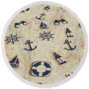 Seafaring Antiques Round Beach Towel