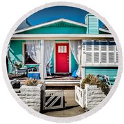 Round Beach Towel featuring the photograph Seafoam Shanty by T Brian Jones