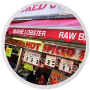 Round Beach Towel featuring the photograph Seafood In D. C. by John S