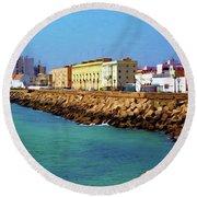Seafront Promenade In Cadiz Round Beach Towel