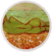 Seagirlscape Round Beach Towel