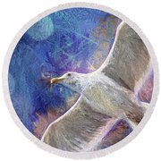 Seagull Against Blue Abstract Round Beach Towel by Peggy Collins