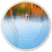 Round Beach Towel featuring the photograph Seagull And Boat by Silvia Ganora