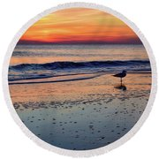 Seagull At Sunrise Round Beach Towel