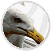 Seagull Closeup Round Beach Towel