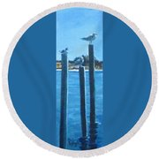 Seagull On A Stick Round Beach Towel