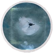 Seagull On Iceflow Round Beach Towel by Victoria Harrington