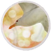 Seagull On Pink And Yellow Sky Round Beach Towel