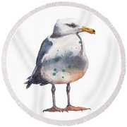 Seagull Print Round Beach Towel by Alison Fennell