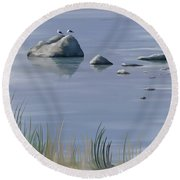Round Beach Towel featuring the painting Gull Siesta by Ivana Westin