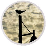 Seagull Silhouette 1 Round Beach Towel by Kelly Nowak