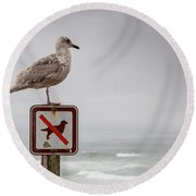 Seagull Standing On Sign And Looking At The Ocean Round Beach Towel