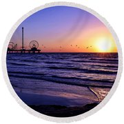 Seagull Sunrise Round Beach Towel