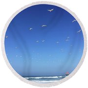 Seagulls And Pier Round Beach Towel