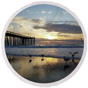 Seagulls And Salty Air Round Beach Towel