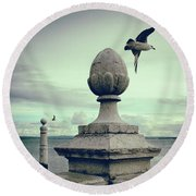 Round Beach Towel featuring the photograph Seagulls In Columns Dock by Carlos Caetano