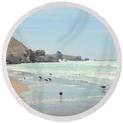 Seagulls In The Surf Round Beach Towel