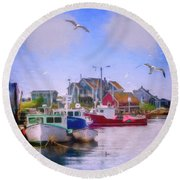 Seagulls Of Peggys Cove Round Beach Towel