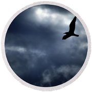 Seagulls Stormy Flight Round Beach Towel