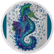 Seahorse 6 Round Beach Towel by Megan Walsh