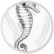 Seahorse Black And White Sketch Round Beach Towel
