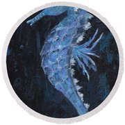 Round Beach Towel featuring the painting Seahorse by Jamie Frier