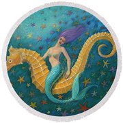 Seahorse Mermaid Round Beach Towel by Sue Halstenberg