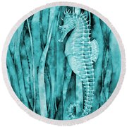 Seahorse On Blue Round Beach Towel