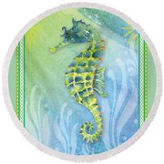 Seahorse Blue Green Round Beach Towel by Amy Kirkpatrick