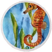 Seahorse With Sea Grass Round Beach Towel