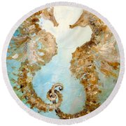 Seahorses In Love 2016 Round Beach Towel by Dina Dargo