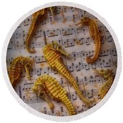 Seahorses On Sheet Music Round Beach Towel