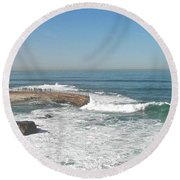 Round Beach Towel featuring the photograph Seal Beach by Carol  Bradley