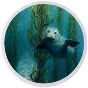 Seals Of The Sea Round Beach Towel
