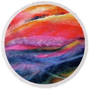 Round Beach Towel featuring the painting Seams Of Color by Kathy Braud