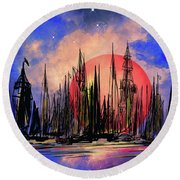 Round Beach Towel featuring the drawing Seaport by Andrzej Szczerski