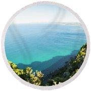 Seas Of Turquoise Blue Round Beach Towel