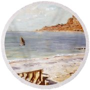 Seascape At Sainte Adresse  Round Beach Towel