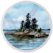 Seascape Casco Bay Maine Round Beach Towel