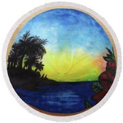 Seascape On A Sand Dollar Round Beach Towel by Mary Ellen Frazee