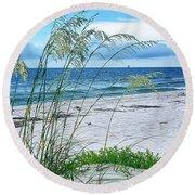 Seascape Serenity Round Beach Towel