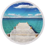 Seascape Sunrise Treasure Coast Florida Pier C6 Round Beach Towel