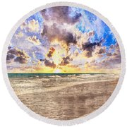 Seascape Sunset Impressionist Digital Painting B7 Round Beach Towel