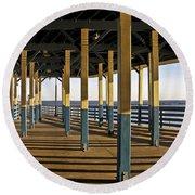 Seascape Walk On The Pier Round Beach Towel by Carol F Austin